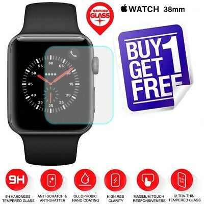 2x Genuine TEMPERED GLASS Screen Protector Apple Watch Series 1 2 3 38mm iWatch