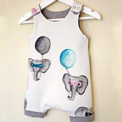 Newborn Baby Boys Girls Elephant Long Romper Bodysuit Jumpsuit Clothes Outfits
