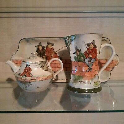"""Royal Doulton Trio of """"The Gallant Fishers"""" - - Pitcher, Teapot and 18"""" Platter"""