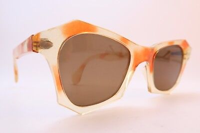 Vintage 40s sunglasses yellow orange original brown glass lens women's medium