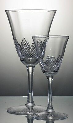 Two Antique Pairs, Cut Crystal Glasses for Wine & Liqueur  Cordial - 95 & 35 ml