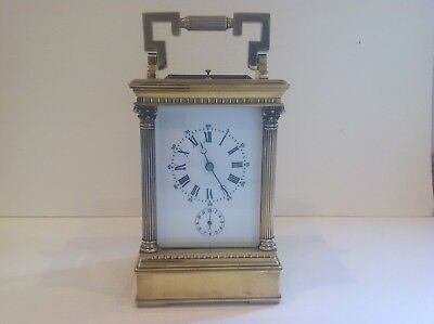 Superb Antique French Striking Repeating Alarm Carriage Clock Serviced Mar 2018