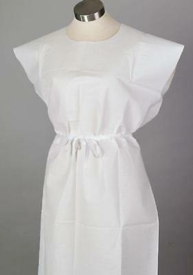 50 PACK! Hospital Patient Gown Medical Exam Gown White Lightweight Economy