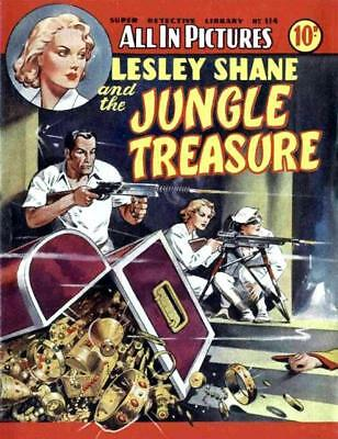 SUPER DETECTIVE LIBRARY No.114 - LESLEY SHANE AND THE JUNGLE TRASURE - Facsimile