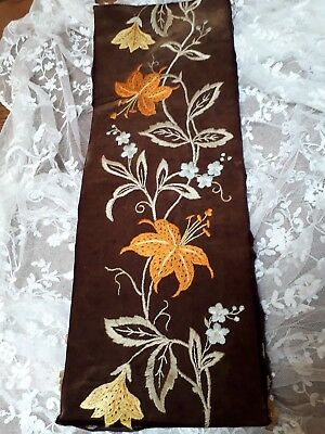 VINTAGE VICTORIAN HAND EMBROIDERY ANTIQUE LILLIES FLORAL PICTURE 19th century