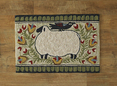 New Primitive Country SHEEP CROW FLOWER Green Wool Hooked Rug Floor Mat