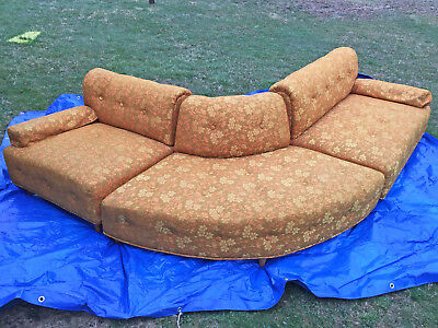 RARE Vintage FUNKY Mid Century Sofa 3 pc Sectional Couch Convex Outside Corner