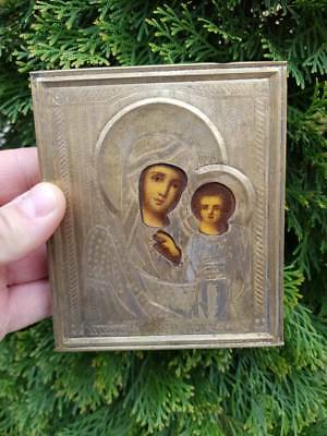 R Rare old Russian Imperial painted icon Mother of God of Kazan 19th century