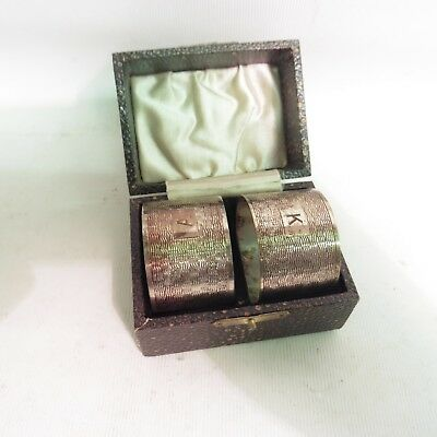 Pair Of Silver Engine Turned Napkin Rings By E J Houlston, H/m B'ham 1946