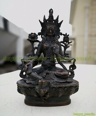 Ancient Bronze Old Temple God Antique Bodhisattva Buddha Statue