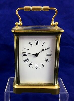Antique Brass Carriage Clock With Key *** Working ***