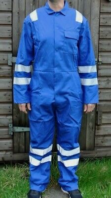 Royal Blue Boilersuit With Nordic Design Reflective Tape British Made Heavy Duty