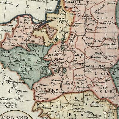 Poland shows claims of Russia Prussia Austria c. 1790 Russell nice old color map