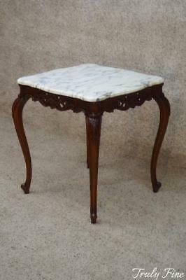 French Louis XVI Marble Top Lamp Side End Parlor Table Hand Carved by a Master