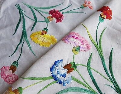 Beautiful Vintage Hand Embroidered Linen Tablecloth with Flowers