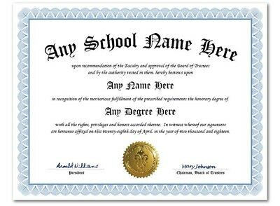 University High School College Personalized Diploma w/Gold Seal Novelty Lt Blue