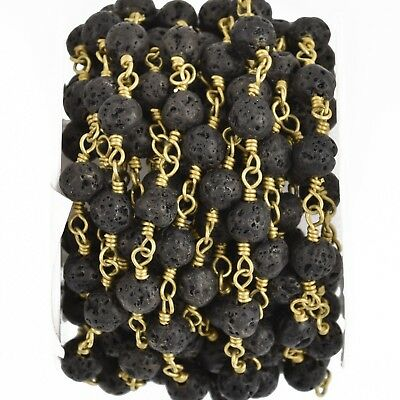 3 feet BLACK LAVA STONE Rosary Chain gold wire 6mm gemstone fch0900a