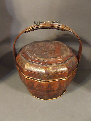 Antique Asian Chinese Wood Wooden Wedding Food Basket With Lid