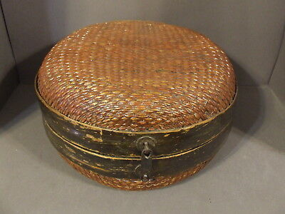 Antique Woven Asian Chinese Wood Wooden Wedding Food Basket