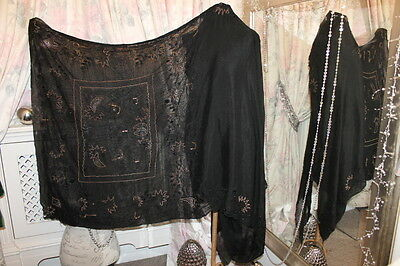 "1920s black silk beaded sari - Ditsy Vintage Antique 42"" x 179"" art deco shawl"