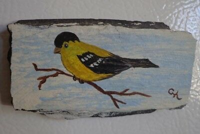 Male Goldfinch Magnet Hand Painted Slate Refrigerator ~ FREE SHIPPING