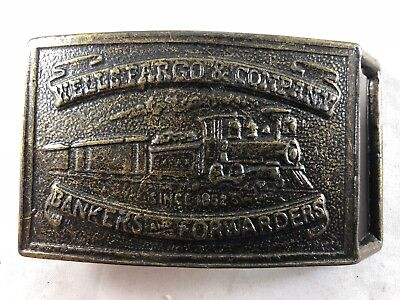 Wells Fargo & Company Bankers And Forwarders Belt Buckle Train Locomotive