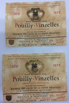 Two Vintage Pouilly Vinzelles White Burgundy French Wine Labels 1972