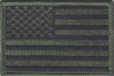 """USA AMERICAN FLAG, SUBDUED GREEN CAMO( 3"""") MILITARY Iron On Patch"""
