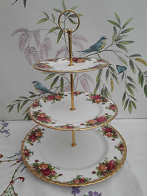 """Royal Albert """"Old Country Roses"""" Extra Large size 3-tier cake stand"""