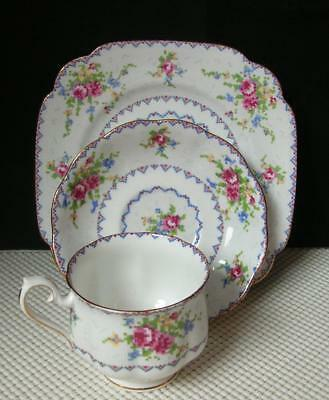"PETIT POINT ""TRIO"" Royal Albert TEA CUP, SAUCER & DESSERT PLATE China England"