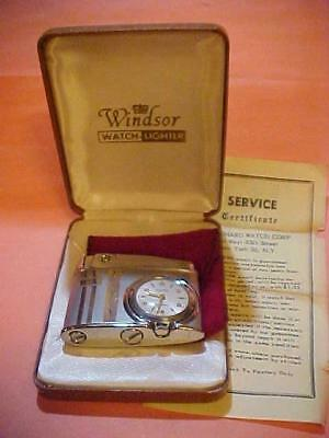 Elegant 1960s Windsor (Flaminaire) Petrol Lighter - Built in Swiss Watch - MIB