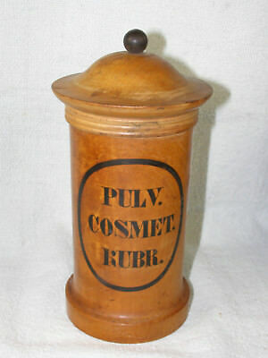 Antique Turned Wood Pharmacy Apothecary Jar with Lid - Pulv. Cosmet. Rubr.