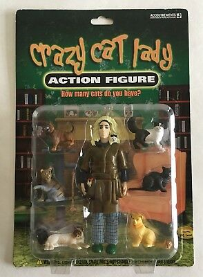 Crazy Cat Lady Action Figure In Bathrobe 6 Six Cats Sealed New By Accoutrements