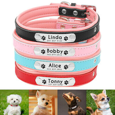 Personalized Dog Collar Leather Soft Padded Small Medium Dog Name Collar Engrave