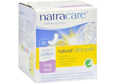 Natracare Natural UItra Pads Organic Cotton Cover, Chlorine Free, Long, 10 Pack