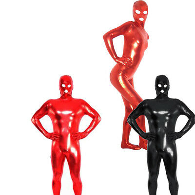 Mens Women Latex Rubber Tights Catsuit Bodysuit Lycra Underwear Jumpsuit Costume
