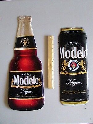 NEW Modelo Negra Bottle and Can Combo Metal Tin Tacker Beer Sign Lot Man Cave