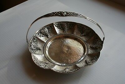 .800 silver tray with handle with what looks to be a grape pattern