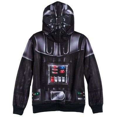 NWT $44 Boys STAR WARS Darth Vader Zip Front Hoodie with Mesh Mask L 14-16 LARGE