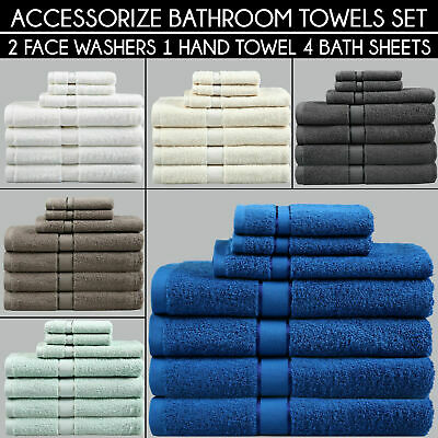 BATHROOM SET Absorbent Egyptian Cotton 2 FACE WASHER 1 HAND TOWEL 4 BATH TOWELS