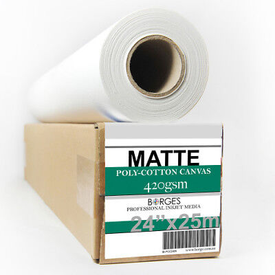 "INKJET PRINTING CANVAS, MATTE POLY-COTTON 420gsm 24""x25m roll"