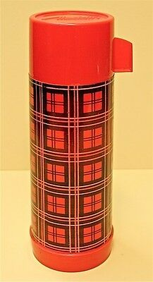 """Vintage Original ALLADIN PLAID Thermos 1960s 12"""" Inches Tall Hours of Hot Coffee"""