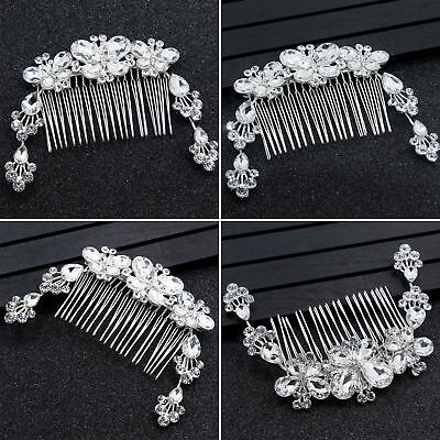 Wedding Bridal Butterfly Crystal Hair Comb Headband Accessories Silver Headpiece