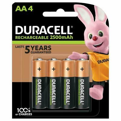 4 x Duracell AA 2500 mAh Rechargeable  Batteries, NiMH HR6 MN1500 Long Life