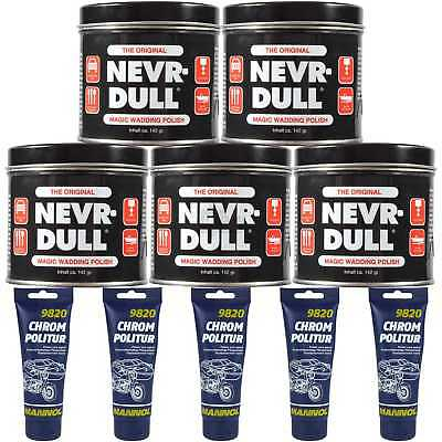 5xNEVR-DULL Metall-Polierwatte Magic Wadding Polish+5x100ml MANNOL Chrom Politur
