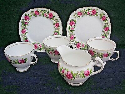 colclough vintage 6 assorted items Enchantment pattern 7132 pink roses