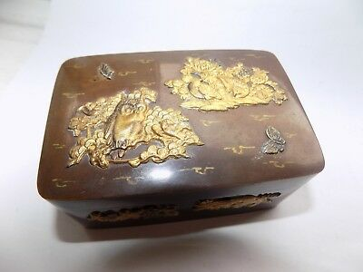 Antique Japanese Brass Lidded Box With Gilt Metal Overlay