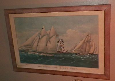 Gorgeous Old Vintage Antique Print Rounding the Light Ship Currier & Ives Framed