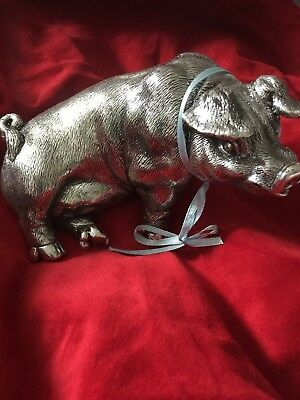 Silver Hallmarked Large Pig Statue/paperweight, antique style finish
