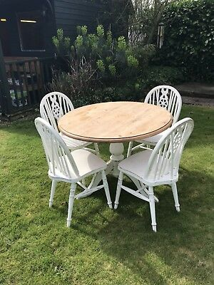 SHABBY CHIC Solid Pine Round Dining Table And Chairs - Solid pine round dining table